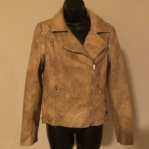 Forever 21 Tan Faux Leather Jacket Juniors L